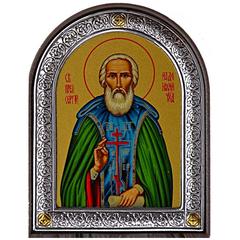 Сергий Радонежский. Маленькая  икона в серебряной раме.
