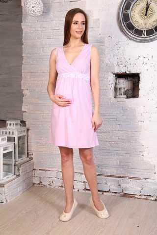 Мамаландия. Сорочка для беременных и кормящих с V-образным вырезом и кружевом, светло-сиреневый