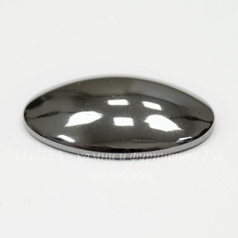 Кабошон овальный Гематит глянцевый черный, 20х15 мм