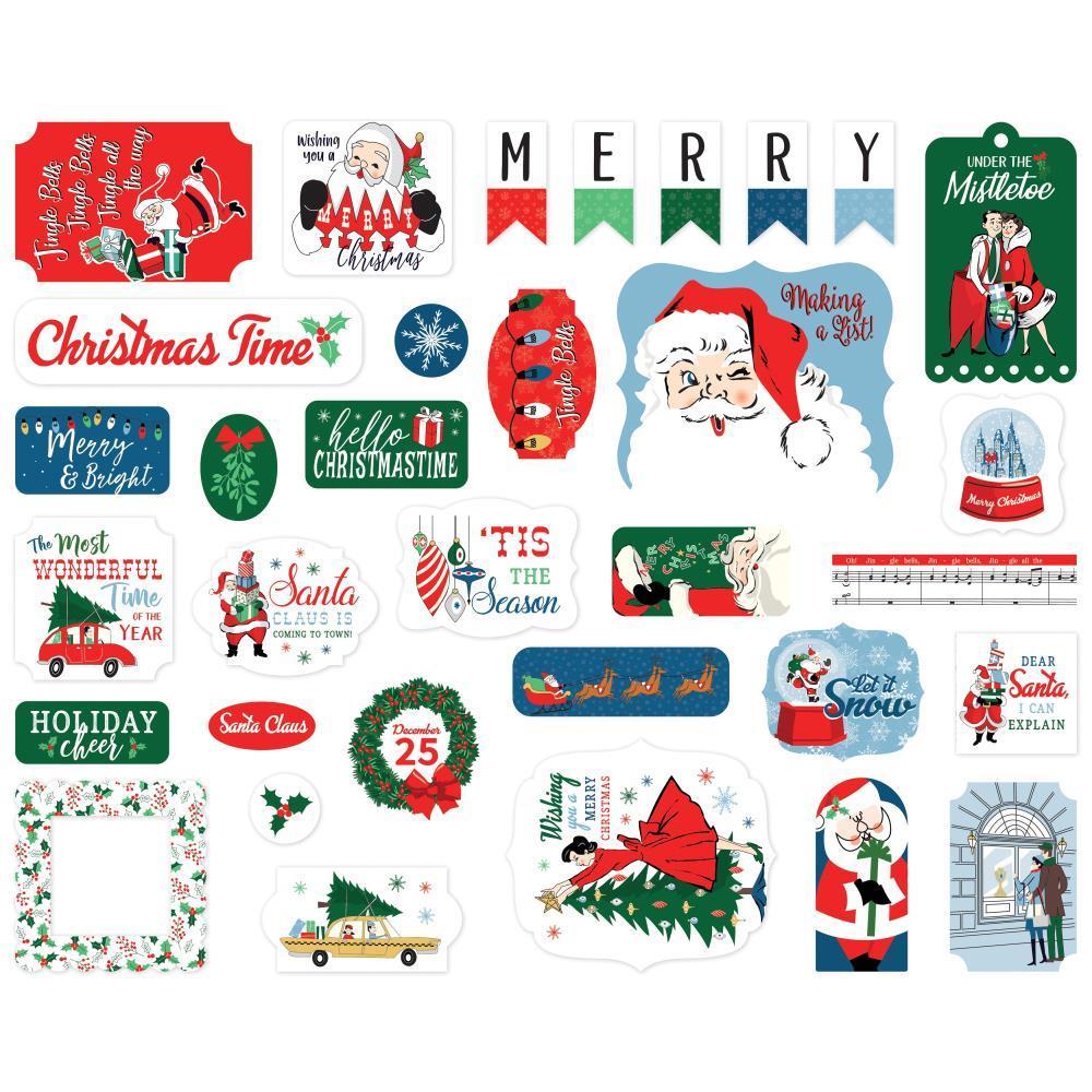 Высечки Carta Bella Cardstock Ephemera -Merry Christmas- 33 шт