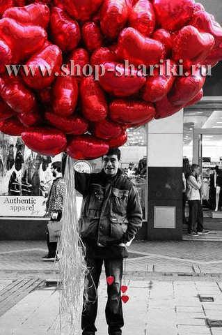 Фольгированные шары сердца: красные