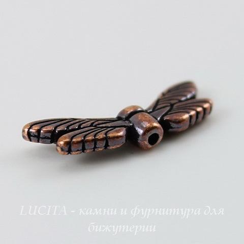 """Бусина TierraCast """"Крылья стрекозы"""" 20х7 мм (цвет-античная медь) ()"""