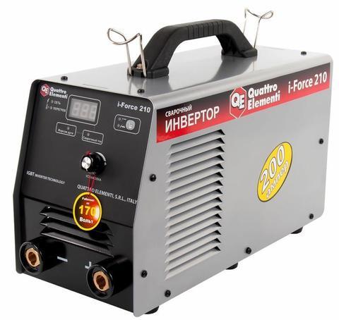Аппарат электродной сварки, инвертор QUATTRO ELEMENTI i-FORCE 210 (200A, ПВ 100%, до 5 мм, Дисплей, TIG-Lift, работа от 170В) ПРОФИ