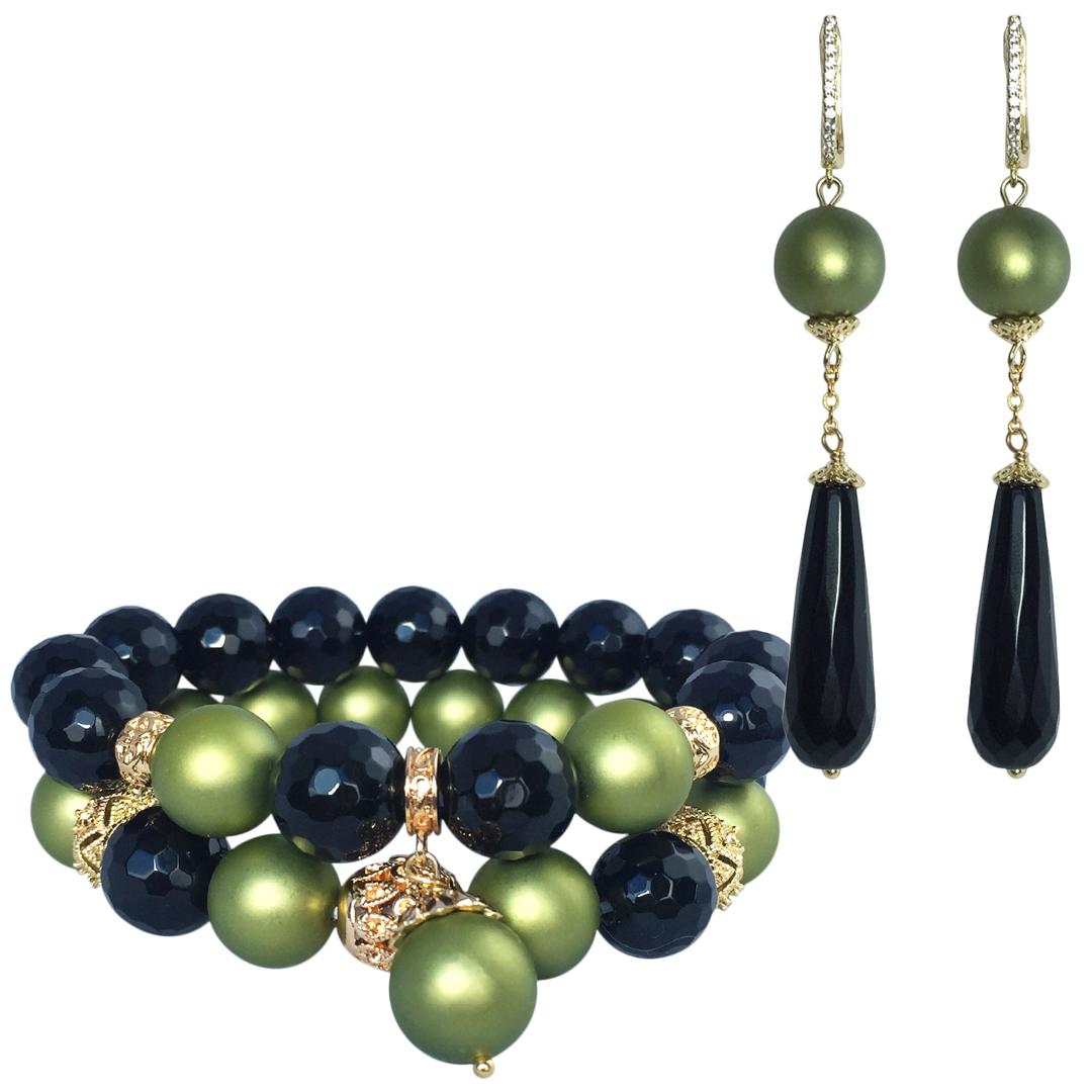 Комплект Black Tie Olivia из 2-х браслетов и длинных сережек из ограненного черного агата и жемчуга-майорки с подвеской Karabulat