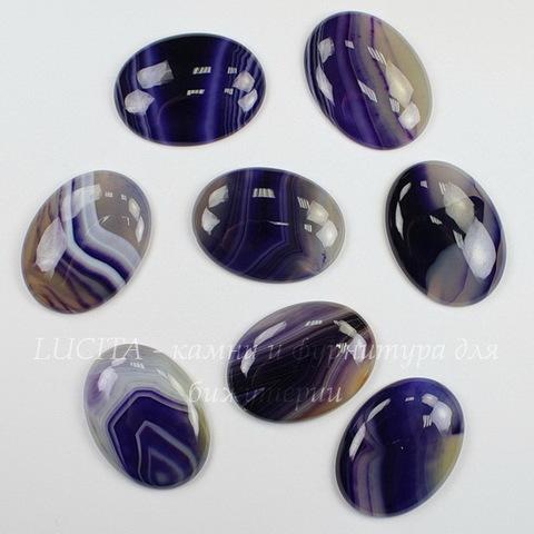 Кабошон овальный Агат фиолетовый (тониров), 40х30 мм
