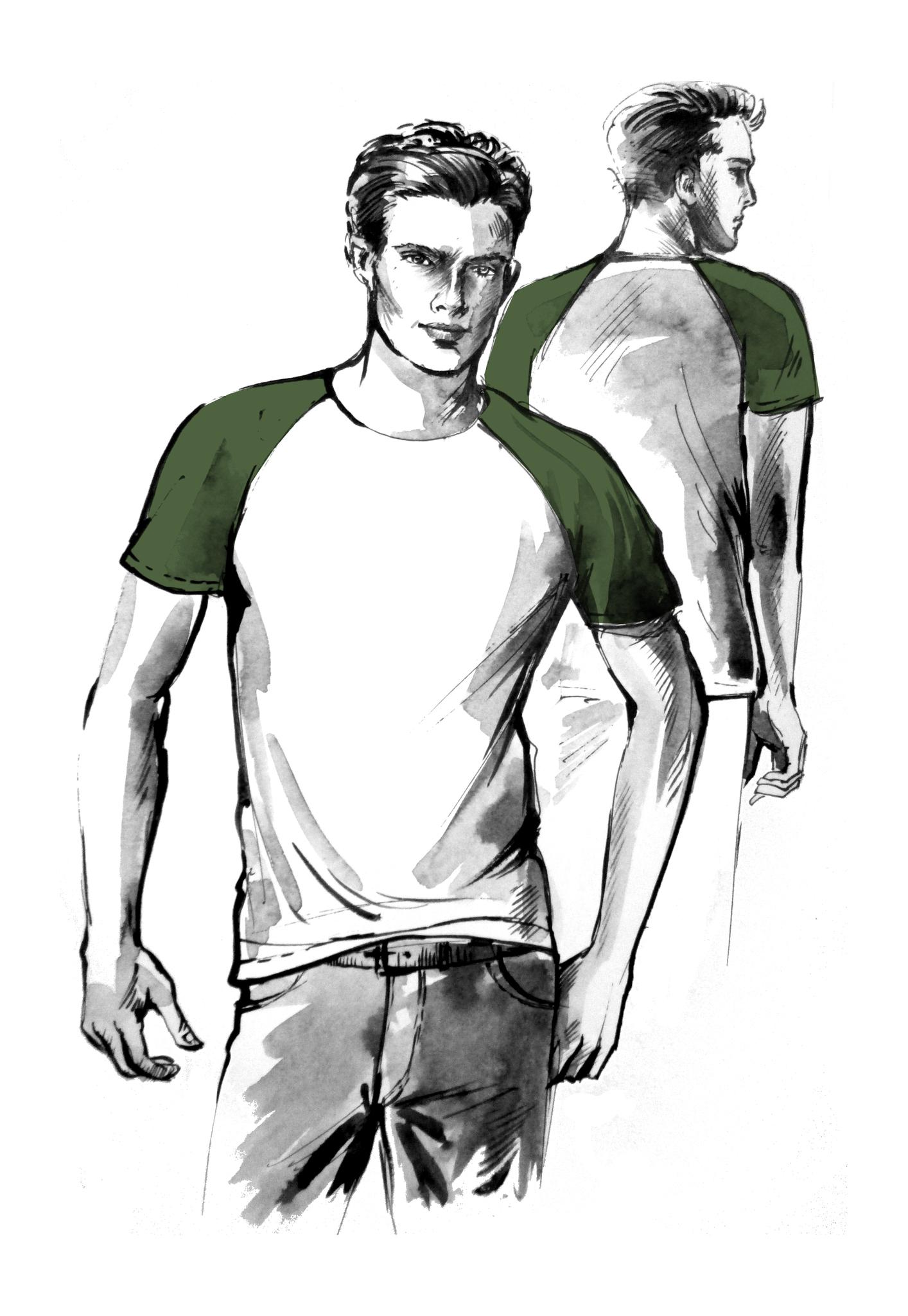 Выкройка мужской футболки с рукавом реглан