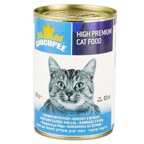 Chicopee Cat Chunks Fish консервы для кошек всех возрастов с кусочками рыбы в соусе - 400 гр х 24 шт 0,4 кг
