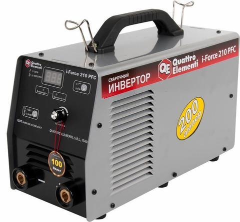 Аппарат электродной сварки, инвертор QUATTRO ELEMENTI i-FORCE 210 PFC (200A, ПВ 100%, до 5 мм, Дисплей, TIG-Lift, работа от 100 Вольт) ПРОФИ