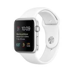 Часы смарт Apple Watch 38 мм из алюминия, спортивный ремешок белого цвета