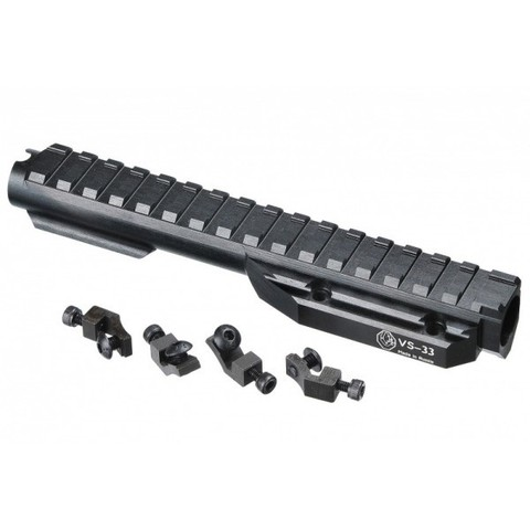 Газовая трубка с планкой Вивер VS-33с для нарезных карабинов АК/Сайга/Вепрь (крепеж - сухари) / Вежливый стрелок