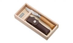 Нож складной Opinel №8 VRI Classic Woods Traditions Olivewood в деревянном кейсе и с кожаным чехлом