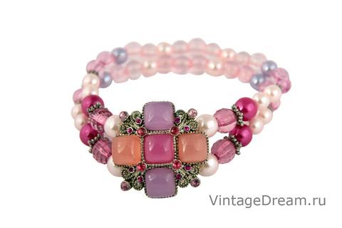 Очаровательный розовый браслет с мальтийским крестом
