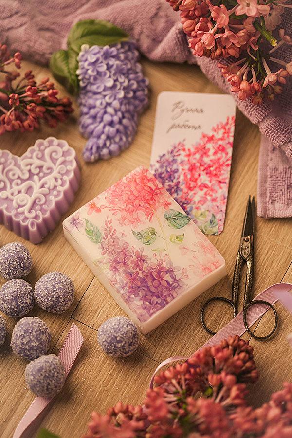 Мыло с цветами. Водорастворимая бумага Сирень