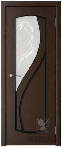 Дверь Крона Венера, стекло матовое с рисунком, цвет венге, остекленная