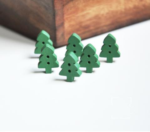 Ґудзики дерев'яні зелені ялинки