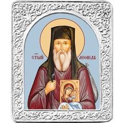 Святой Леонид. Маленькая икона в серебряной раме.