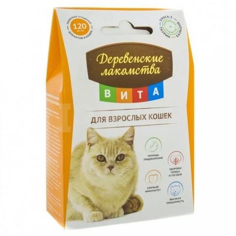 Деревенские лакомства Вита витамины для взрослых кошек 60г