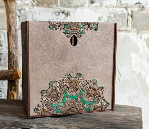 Подарочная коробка «Мандала» с ручной росписью (25*25*12 см)
