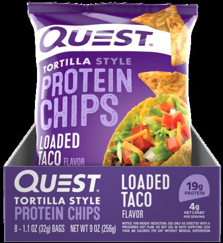 Quest Nutrition Protein Chips Loaded Taco (8шт) 256гр Протеиновые Чипсы Со Вкусом Тортилья с Тако