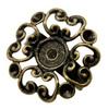 Основа для кольца с филигранным цветком 23 мм (цвет - античная бронза) (KK-Q030-AB)