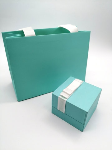 Подарочная коробка цвета Тиффани (пакет+коробочка)