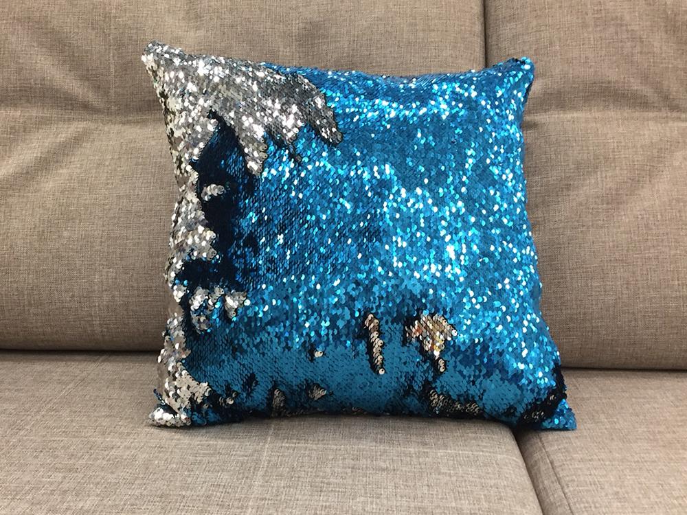 подушка цвет синий-серебро