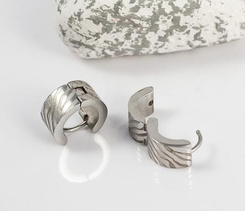 Стальные мужские серьги кольца с гравировкой, «Spikes»
