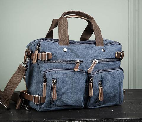 Мужской городской рюкзак трансформер синего цвета