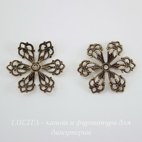 Винтажный декоративный элемент - шапочка 20х3 мм (оксид латуни) ()