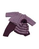 Вязаный жакет, рейтузы и шапочка - Сиреневый. Одежда для кукол, пупсов и мягких игрушек.