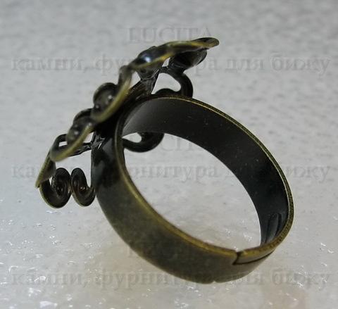 Основа для кольца с филигранным цветком 23 мм (цвет - античная бронза)