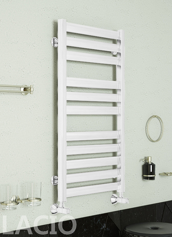 Lacio White - белый полотенцесушитель с квадратным профилем.