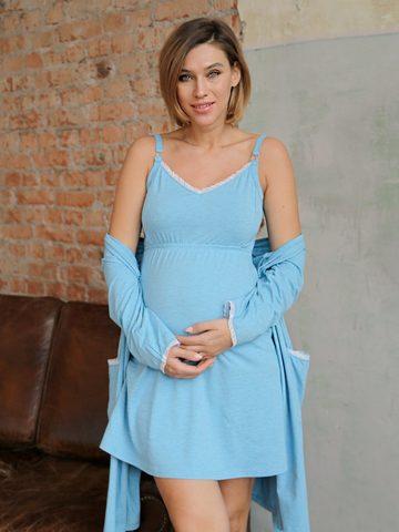 Евромама. Комплект для беременных и кормящих с рукавами 3/4, темно-голубой
