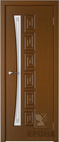 Дверь Крона Греция, стекло матовое с рисунком, цвет орех, остекленная