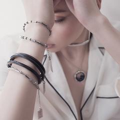 Женский браслет из кожи,темно-серый  оптом и в розницу