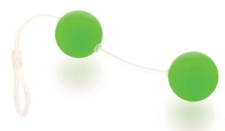 Вагинальные шарики: Зеленые вагинальные шарики на прозрачной сцепке фото