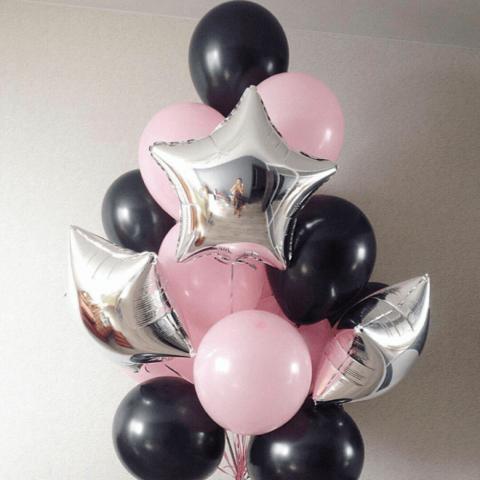 Набор из серебряных звезд, розовых и черных шаров