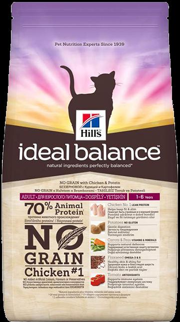 Сухой корм Корм для кошек Hill`s Ideal Balance беззерновой, с курицей и картофелем идеал_кур.png
