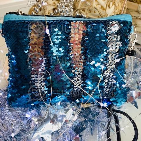 Клатч-сумочка на молнии детская с пайетками меняющая цвет Голубой-Серебристый