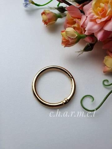 Карабин-кольцо золото, d 32 мм, 4 мм