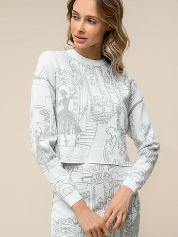 Женский джемпер белого цвета с принтом из вискозы - фото 4