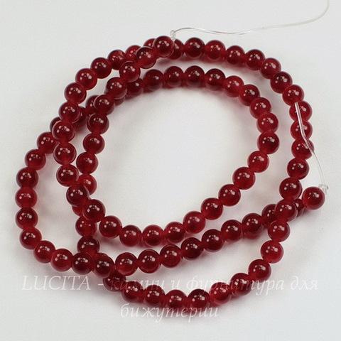 Бусина Жадеит (тониров), шарик, цвет - темно-красный, 4 мм, нить