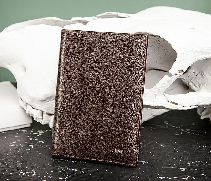 BC217-2 Кожаная обложка коричневого цвета для авто документов, «Atos» фото 03