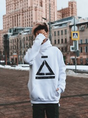 sweatshirt with hood    #teamkris     (white)