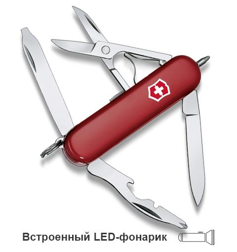 Нож-брелок Victorinox Classic Midnite Manager, 58 мм, 10 функций, красный*