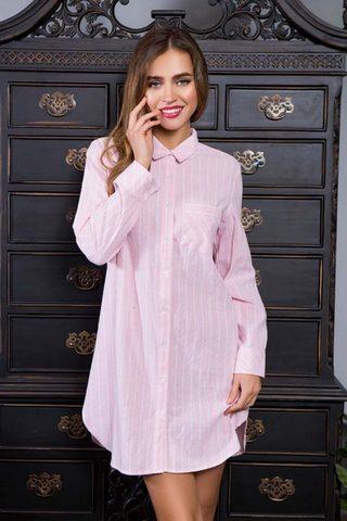 Женская домашняя рубашка в полоску Cindy (BS) розовая