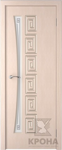 Дверь Крона Греция, стекло матовое с рисунком, цвет беленый дуб, остекленная