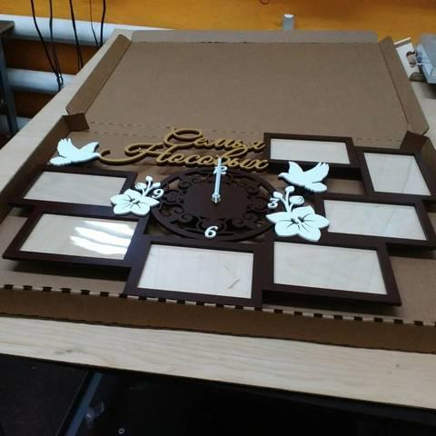 Именная фоторамка из дерева 7 рамок с часами