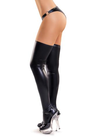 Чулки Glossy из материала Wetlook, черный, XL фото