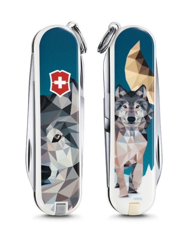 """Нож-брелок Victorinox Classic, 58 мм, 7 функ, """"Wolf is Coming Home"""", 58 мм, 7 функций"""